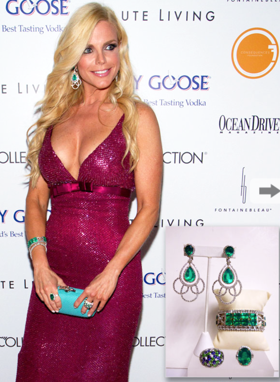 Alexia Echevarria accessorizes her plum evening gown with stunning Emerald Green Agate & diamond chandelier drop earrings, deco bracelets and bold rings at the Black Annual Gala.