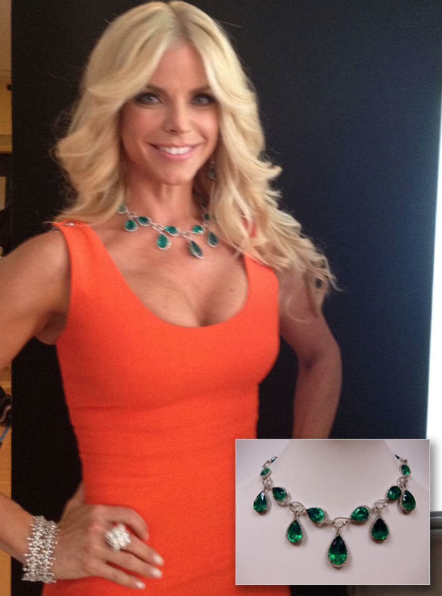 Alexia Echevarria pairs this regal Emerald Green Agate & diamond tear drop necklace with her bright tangerine colored gown.