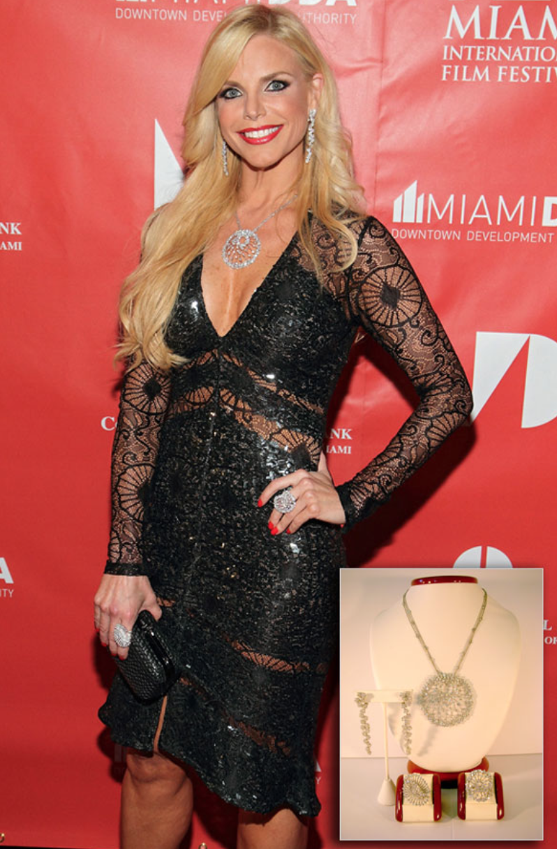 Alexia Echevarria wearing over 33 carats of diamond jewelry, including 'Starburst' necklace with cascade earrings, to the Red Carpet Premiere of the Miami International Film Festival.