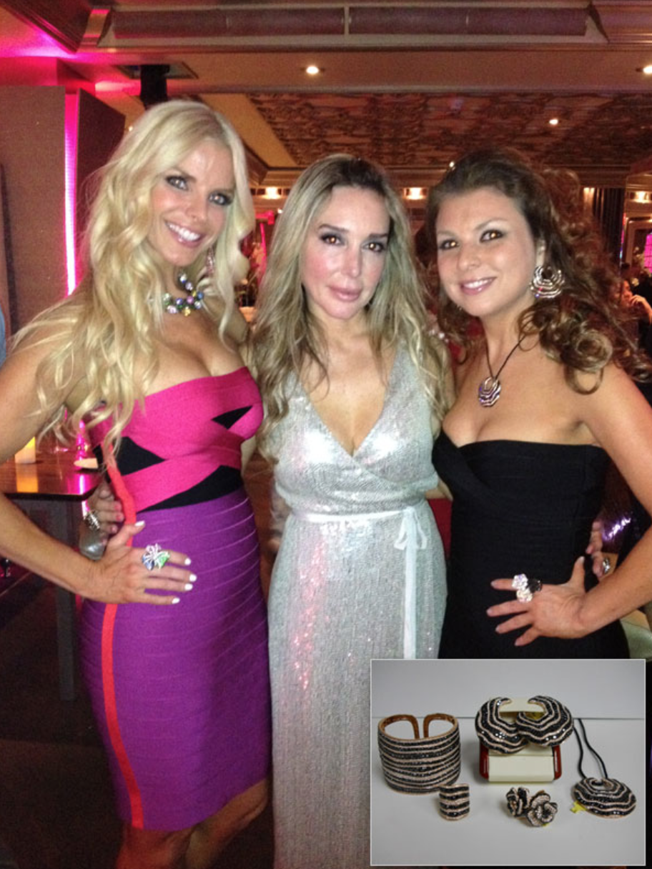 Christina Termine, owner/designer of Diamonds On The Key wearing black diamonds in rose gold, with Alexia Echevarria and Marysol Patton at Patton Group Anniversary Party.